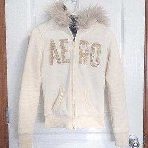 ✳Aeropostale Faux Fur Lining White Winter Jacket